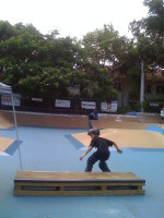 Anthony Azcuy skateboarding at 1 Cool World Skatepark in Coconut Grove, FL. July 12, 2010