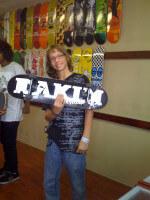 Jay-Jay Garcia showing off new deck at MIA Skatepark, Miami, September 25, 2010