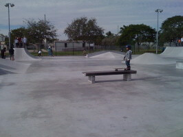 Jose Castillo getting ready to skate drop off a bench at Westwind Lakes Skatepark. December 20, 2009