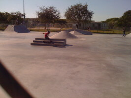 Jose Castillo gliding on his 6th birthday at Westwind Lakes Skatepark. 2009
