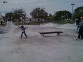 Jose Castillo drops off a bench at Westwind Lakes Skatepark. December 20, 2009