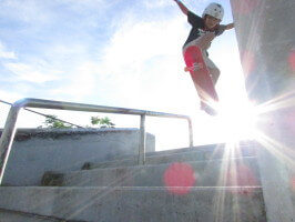 Jose Castillo Skater, Ollie over 4-stairs, Westwind Lakes Skatepark, Miami