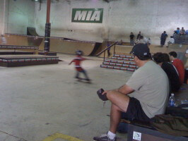 Jose Castillo, age 6, skating for an audience, MIA Skatepark, September 25, 2010