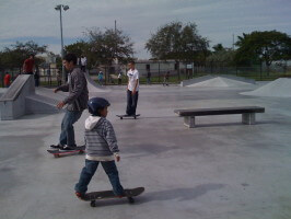 6-year-old Jose Castillo skating with the big guys at Westwind Lakes Skatepark. December 20, 2009