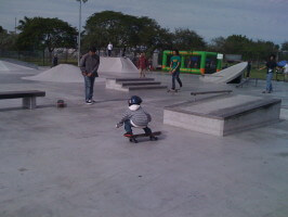 6-year-old Jose Castillo at Westwind Lakes Skatepark. December 20, 2009