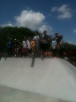 Tony Hawk, David Loy skateboarding on tour at Westwind Skatepark in Miami, August 2011