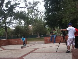 Jose Castillo, skater video shoot, on set at Amelia Earhart Park, 2012