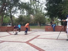 Anthony, Jose and Juan, skater video shoot, on set at Amelia Earhart Park, 2012