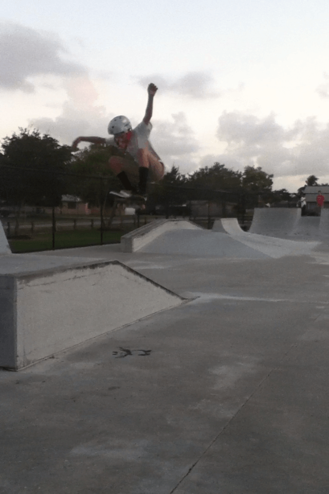 Skater Anthony Azcuy ollies over ramp, 2011