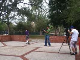 Anthony Azcuy, skater video shoot, on set at Amelia Earhart Park, 2012