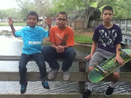 New Skool Skate Team: Jose, Anthony, Juan, video shoot: on set at Amelia Earhart Park, 2012